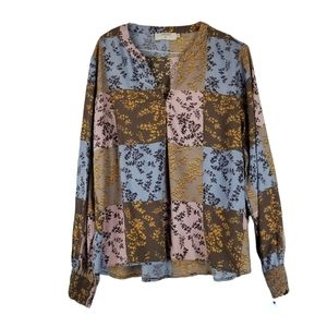 Cream Brown Floral Patchwork Blouse